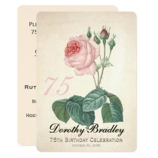 Vintage Rosen-75. Geburtstags-Feier-Gewohnheit I Karte