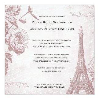 Vintage Rosen-Eiffel-Turm-Hochzeits-Einladung Karte