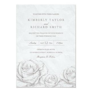 Vintage Rosen-graue elegante mit Blumenhochzeit Karte