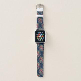 Vintage Rosen-klassischer blauer Farbdamast mit Apple Watch Armband
