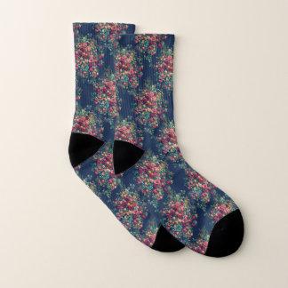 Vintage Rosen-klassischer blauer Farbdamast mit Socken