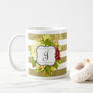 Vintage Rosen-Monogramm-Initiale mit Blumen Kaffeetasse