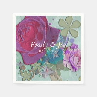 Vintage Rosen rosa und blaue Hochzeit Serviette