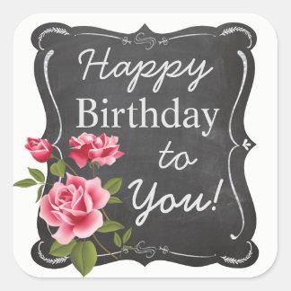 Vintage Rosen-Tafel-Geburtstags-Aufkleber II Quadratischer Aufkleber