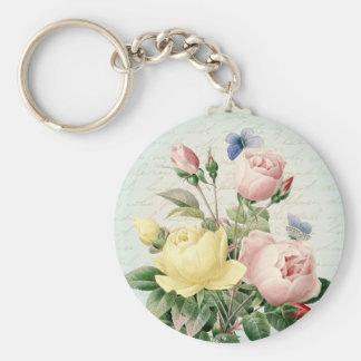 Vintage Rosen weibliches mit Blumenkeychain Schlüsselanhänger