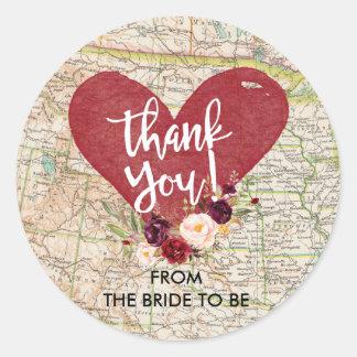 Vintage rote Marsala Blumenkarte danken Ihnen Runder Aufkleber