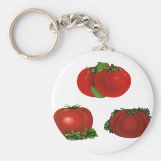 Vintage rote reife Tomaten Nahrung, Früchte, Schlüsselanhänger