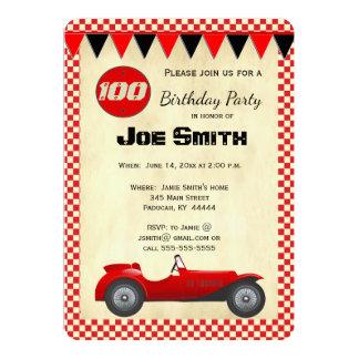 Vintage rote Rennenauto-Flaggenkarte - 100. 12,7 X 17,8 Cm Einladungskarte