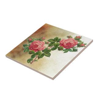 Vintage Rote Rosen Kleine Quadratische Fliese