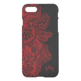 Vintage rote Spitze auf schwarzem Monogramm iPhone iPhone 8/7 Hülle