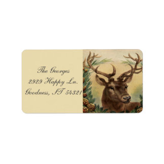 Vintage Rotwild-Dollar-Hirsch-Natur-rustikales Adressetiketten