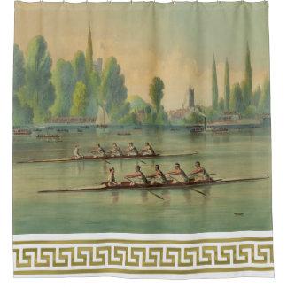 Vintage Rowers-Crew-Rennen-Regatta griechisches Duschvorhang