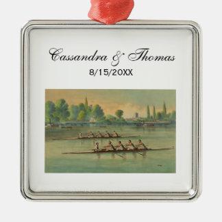 Vintage Rowers-Crew-Rennen-Regatta Silbernes Ornament