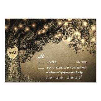 Vintage rustikale geschnitzte Eichen-Baum-Hochzeit 8,9 X 12,7 Cm Einladungskarte
