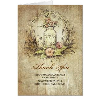 Vintage rustikale Hochzeit des Maurerglases danken Karte