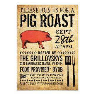 Vintage rustikale Schwein-Braten-Einladung II 12,7 X 17,8 Cm Einladungskarte