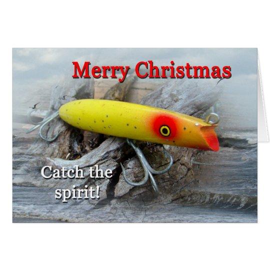 Vintage Salzwasser-Fischen-Köder-Weihnachtskarte Grußkarte