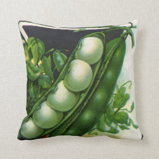 Vintage Samen-Paket-Aufkleber-Kunst, Limabohnen Kissen
