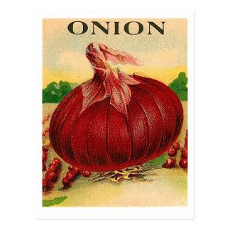 Vintage Samenpaketpostkarte der roten Zwiebel Postkarte