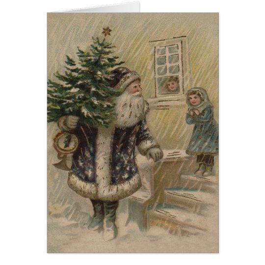 Vintage Sankt im Schnee Grußkarte