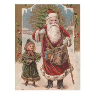 Vintage Sankt und Kind Postkarte