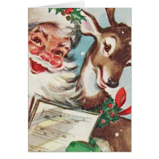 Vintage Sankt und Ren Karte