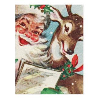 Vintage Sankt und Ren Postkarte