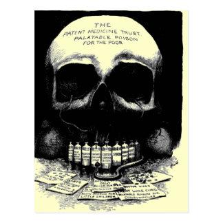 Vintage Schädel-Drogen-Anzeigen-Postkarte Postkarte