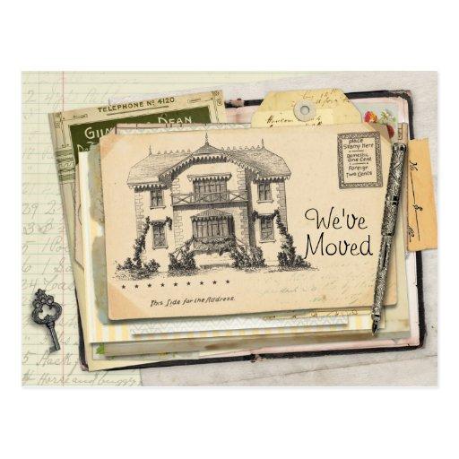 Vintage Schreibtisch-Postkarte, die wir uns bewegt