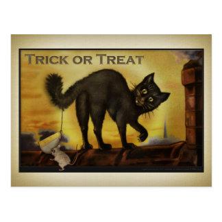 Vintage schwarze Katzen-Postkarte Postkarte