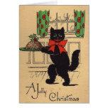 Vintage schwarze Katzen-Weihnachtsgruß-Karte