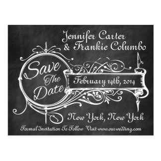 Vintage schwarze Tafel Save the Date Postkarte