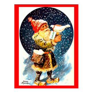 Vintage Schwede Tomte Weihnachtsgnome-Postkarte Postkarte