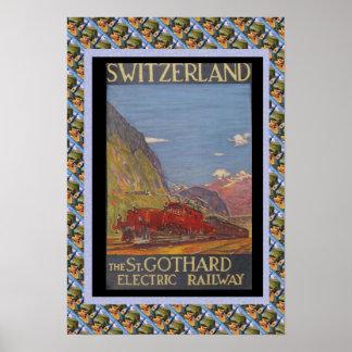 Vintage Schweizer Bahnelektrische Eisenbahn der sc Poster