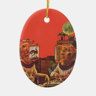 Vintage Science Fiction, Ovales Keramik Ornament
