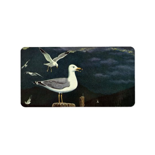 Vintage Seemöwe gehockter Pier, Marinevogel-Tiere Adress Aufkleber