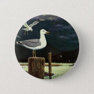 Vintage Seemöwe gehockter Pier, Marinevogel-Tiere Runder Button 5,7 Cm
