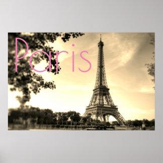 Vintage Sepia-Eiffel-Turm-Paris-Liebe-Stadt Poster