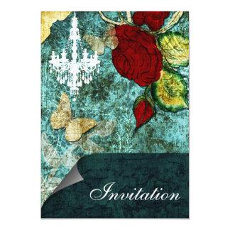 Vintage Shabby Chic Faszinations-Aqua Einladungen 12,7 X 17,8 Cm Einladungskarte