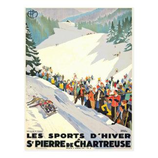 Vintage Ski-Erholungsort-Postkarte von der Schweiz Postkarte