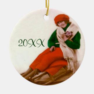 Vintage Sledding Verzierung Keramik Ornament