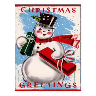 Vintage Snowman-Weihnachtsgruß-Postkarte Postkarte