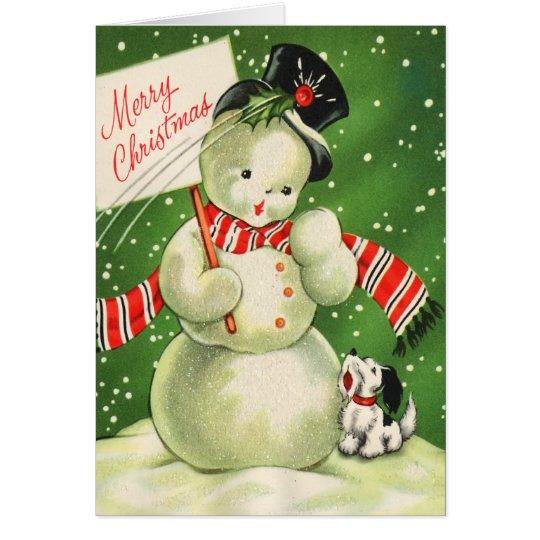 Vintage Snowman-Weihnachtskarte Grußkarte