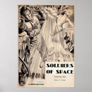 Vintage Soldaten der Raum-Science Fiction-Masse Poster