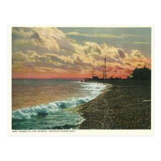 Vintage Sonnenuntergang Mackinac Insel Michigan Postkarte