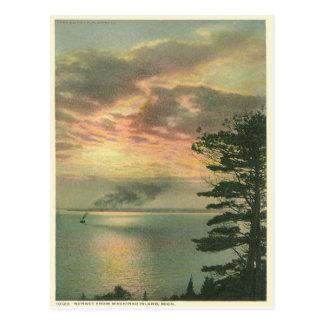 Vintage Sonnenuntergang Mackinac Insel Michigan Postkarten