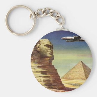 Vintage Sphinx-Flugzeug-Wüsten-Pyramiden Ägypten Standard Runder Schlüsselanhänger