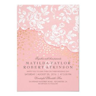 Vintage Spitze-Goldconfetti-Rosa-Hochzeit Karte
