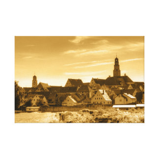 Vintage-Stadtansicht von Lauingen (Donau) Leinwanddruck