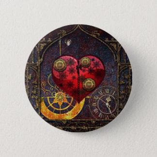 Vintage Steampunk Herz-Tapete Runder Button 5,7 Cm